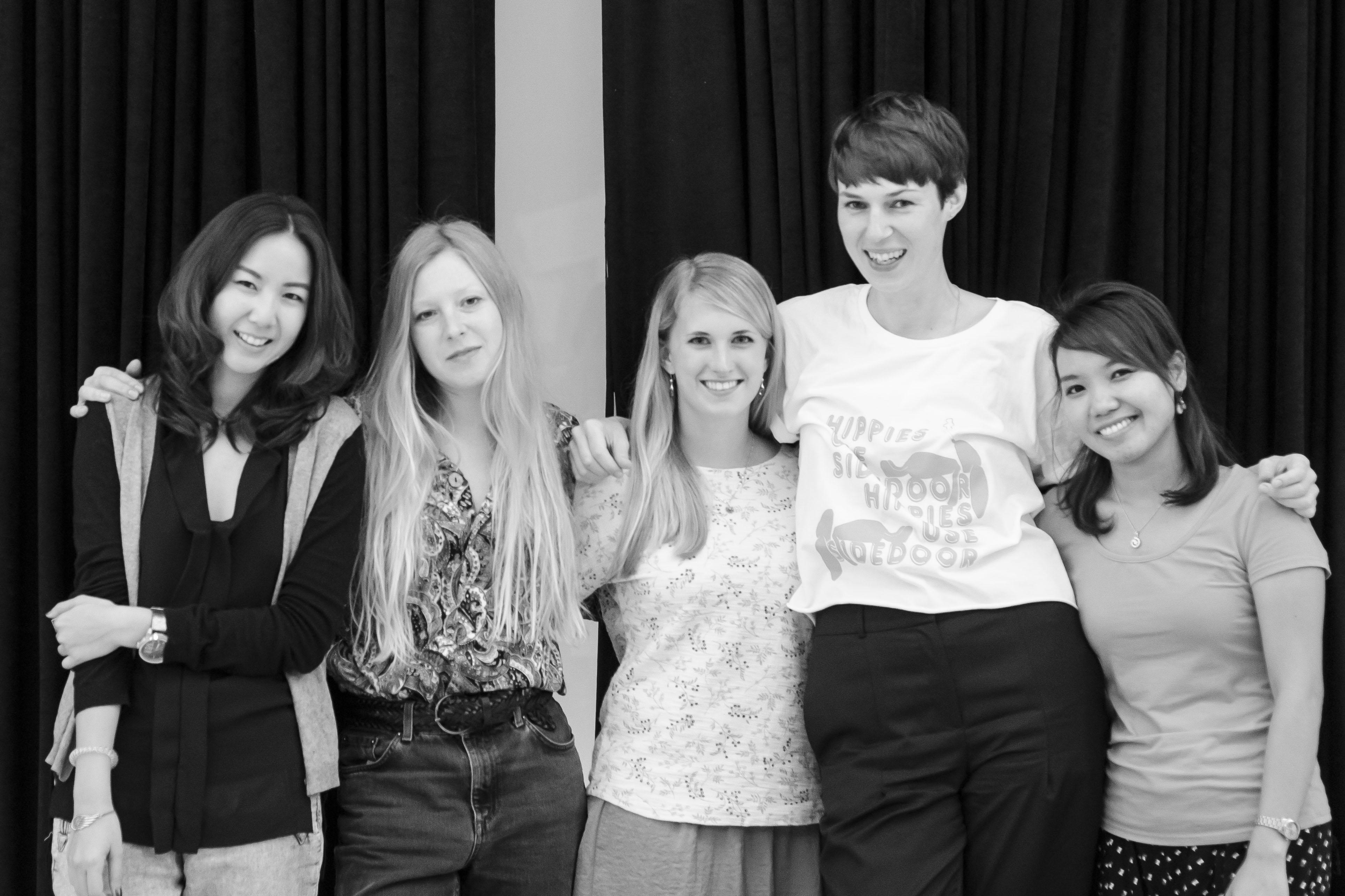 Das Workshop-Team: Orn, Laura, ich, Sandra und Gai (v. links n. rechts)